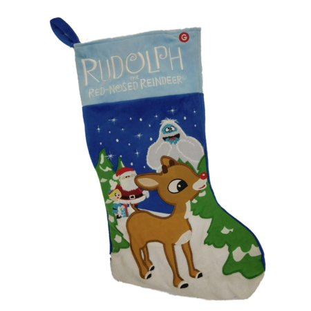 Musical Blue Rudolph the Red Nosed Reindeer Christmas Holiday Stocking Bumble - Musical Christmas Stocking