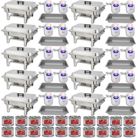 Chafing Dish Set w/Fuel — Water Pans + Food Pans 8 qt + Frames + Lids + Fuel Holders + 20 Fuel Cans + — 10 Full Food Warmer Sets (Pan Warmers)
