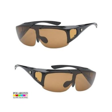 06506729b3d1 Polarized Sunglasses Cover Put Wear fit over Prescription Glasses Driving  Brown - Walmart.com