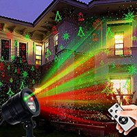 Laser Decorative Lights Garden Laser Light Projector + Remote Control Indoor Outdoor Decorations 5W Light Show (Green, Red, Cola, Bell) for Halloween, Christmas, Party, Holiday etc.