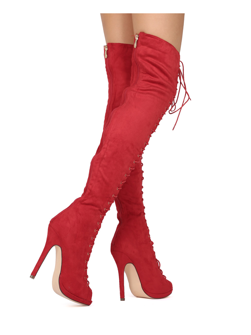 Liliana FC02 Faux Suede Thigh High Peep Toe Lace Up Stiletto Boot