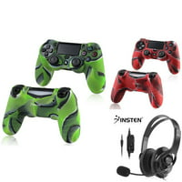 PS4 Bundle, by Insten 2-Pack (Navy Green + Navy Red) Camouflage Skin Controller Case + Wired Gaming Headset with MIC Control for Sony PlayStation 4 PS4