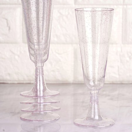 Efavormart 60 Pack 5 oz Glittered Clear Champagne Flute Cocktail Disposable Plastic Glasses ()