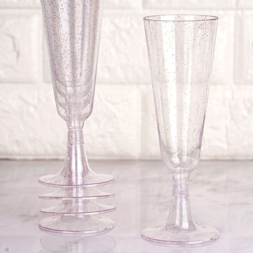 Efavormart 60 Pack 5 oz Glittered Clear Champagne Flute Cocktail Disposable Plastic Glasses
