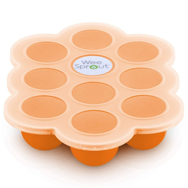 Silicone Baby Food Freezer Tray with Clip-on Lid by WeeSprout - Perfect Storage Container for Homemade Baby Food, Vegetable &...