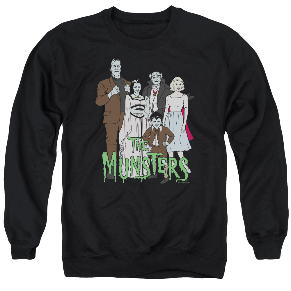 THE MUNSTERS/THE FAMILY - ADULT CREWNECK SWEATSHIRT - BLACK - 3X
