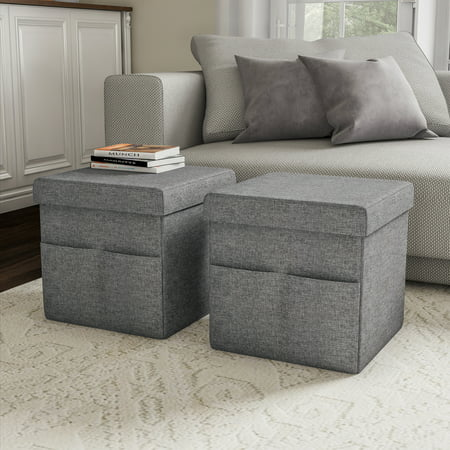 Foldable Storage Cube Ottoman With Pockets Pair Charcoal Gray Walmart Com