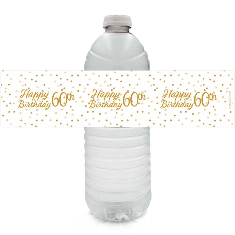 60th Birthday Water Bottle Labels 24 Ct Adult Birthday Party
