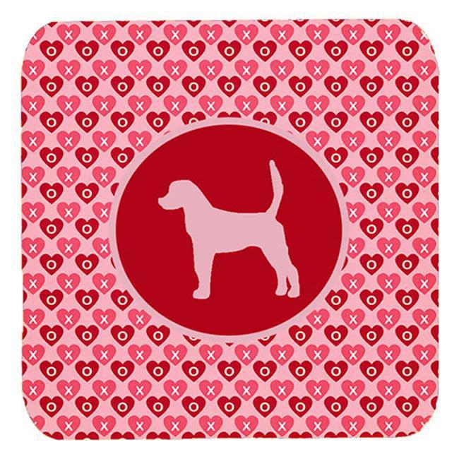 Carolines Treasures SDK1027-A-FC English Foxhound Valentine Hearts Foam Coasters - Set 4, 3.5 x 3.5 In. - image 1 de 1