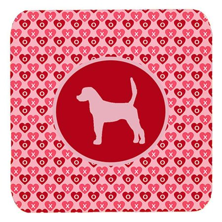 English Foxhound Valentine Hearts Foam Coasters - Set 4, 3.5 x 3.5 In. - image 1 of 1