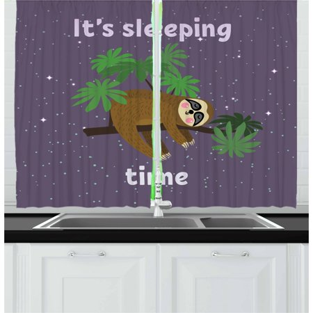 Jungle Themed Curtains (Sloth Curtains 2 Panels Set, Cute Cartoon Character Sleeping on Branch Jungle Animal in Night Sky Kids Theme, Window Drapes for Living Room Bedroom, 55W X 39L Inches, Plum Brown)