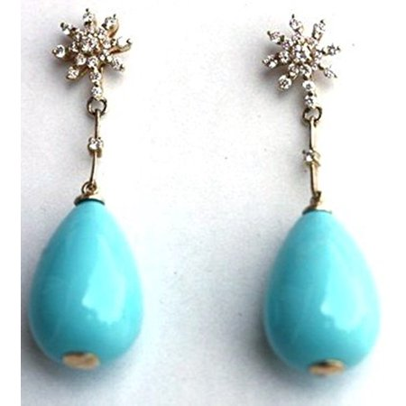 (Turquoise Earrings Tear Drop Turquoise Based Mother of Pearl on 14 k Yellow Gold Set with 0.50k Diam with Post)