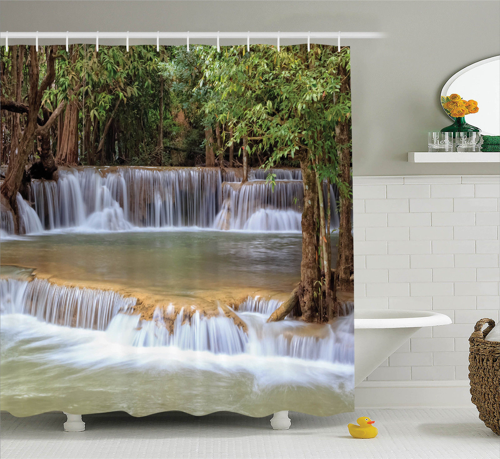 Rainforest Decorations Shower Curtain Set, Rainforest Waterfalls In Kanchanaburi Thailand Summer Travel Exotic Lands, Bathroom Accessories, 69W X 70L Inches, Green Brown Grey By Ambesonne