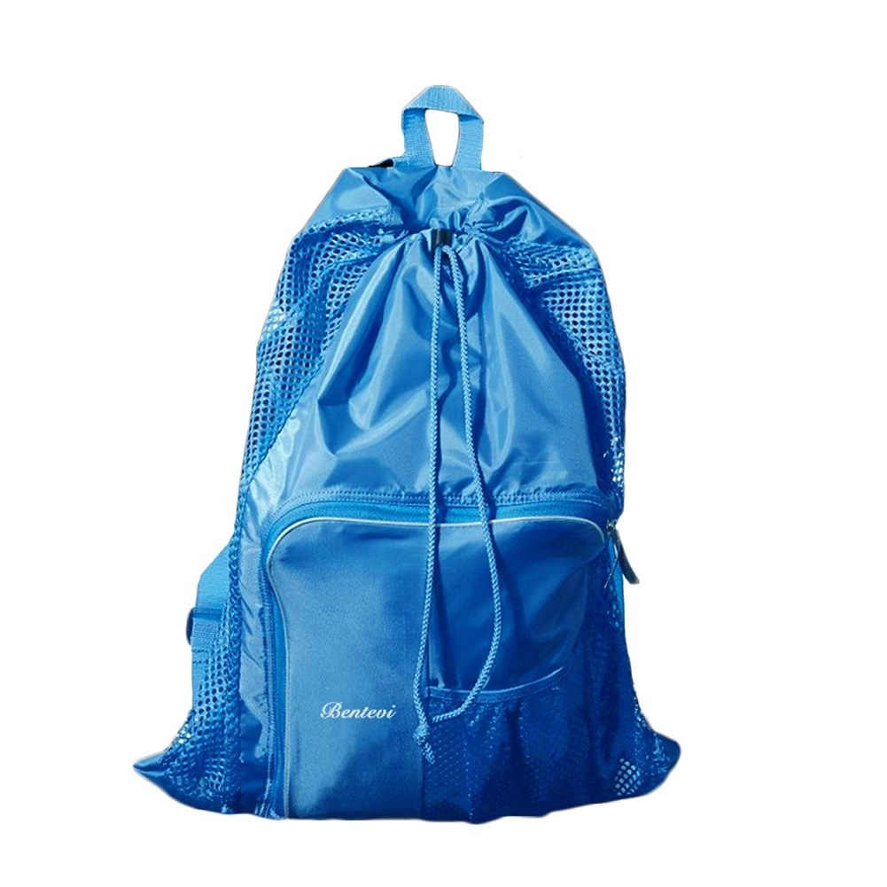 Mesh Beach Bags,Backpack Equipment Drawstring With Shoulder Straps For Swimming. by
