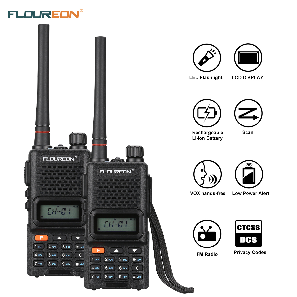 FLOUREON 2 Pack Rechargeable Handheld Walkie Talkie, 22 Channel Two Way Radio UHF 400-470MHz with LED Light FM Radio Function for Field Survival Biking and Hiking, Black