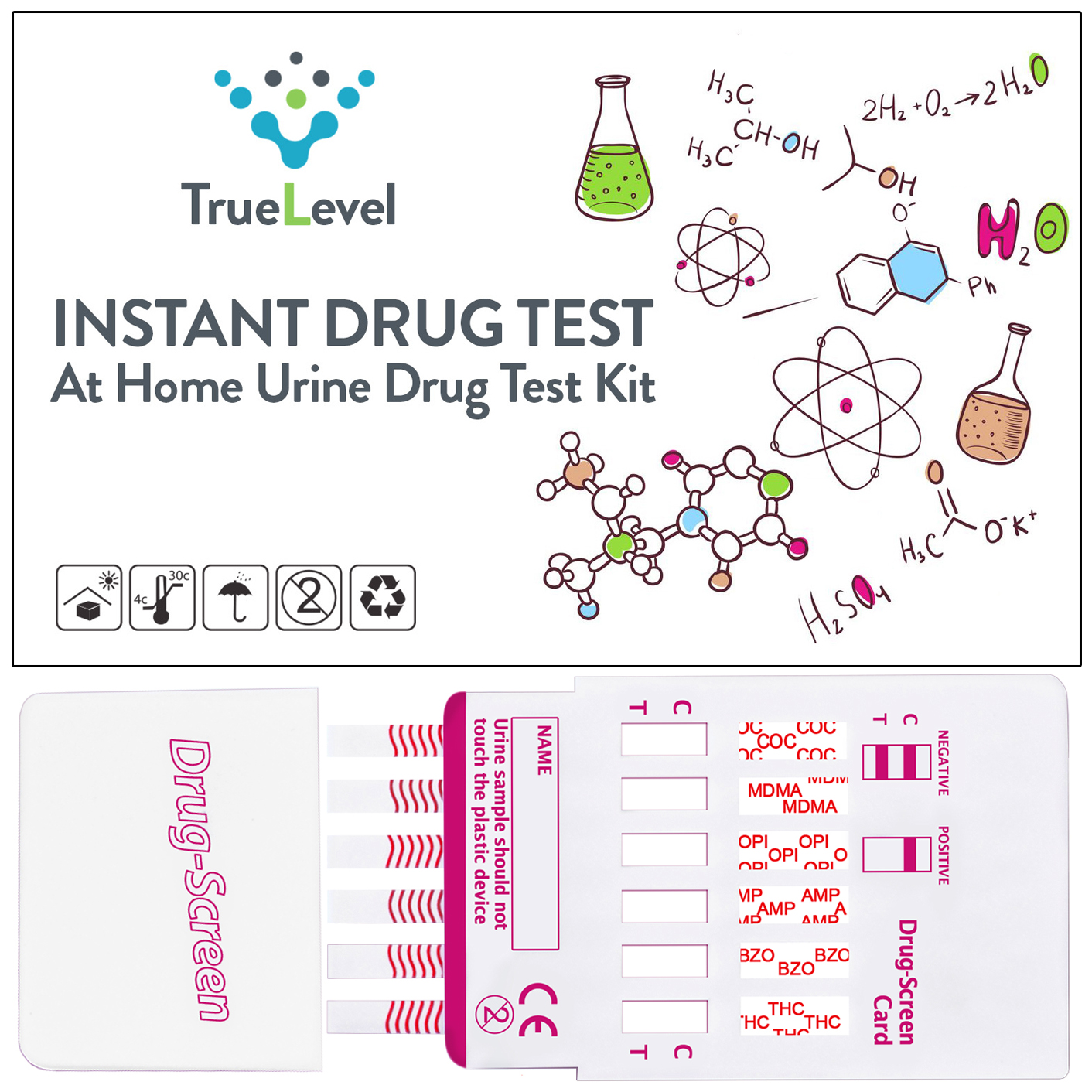 True Level 6 Panel Instant Urine Drug Test Multi-Drug Testing Kit Screen Dip Card (5 Pack)
