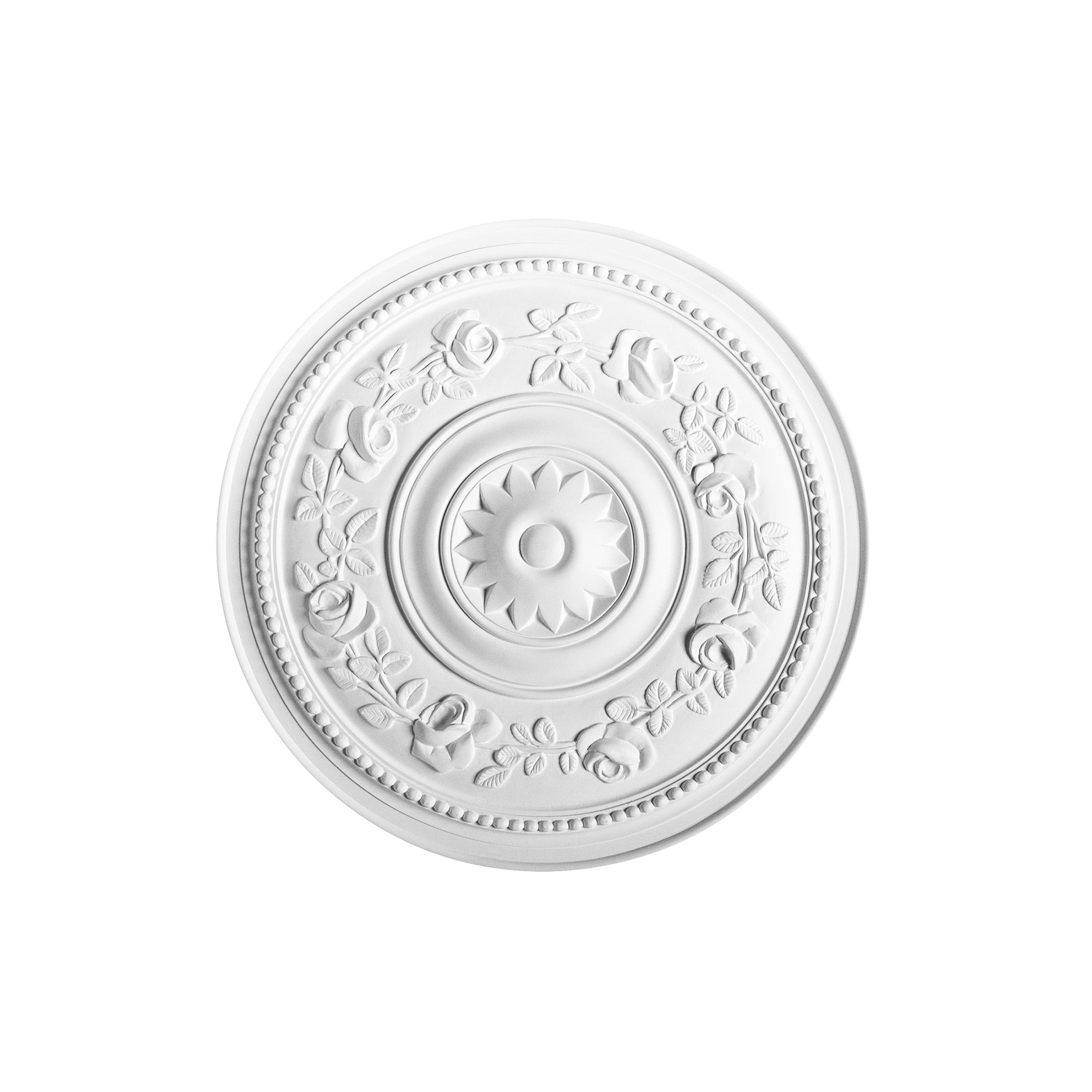 Orac Decor White Primed 16-inch Round Floral Ceiling Medallion ...