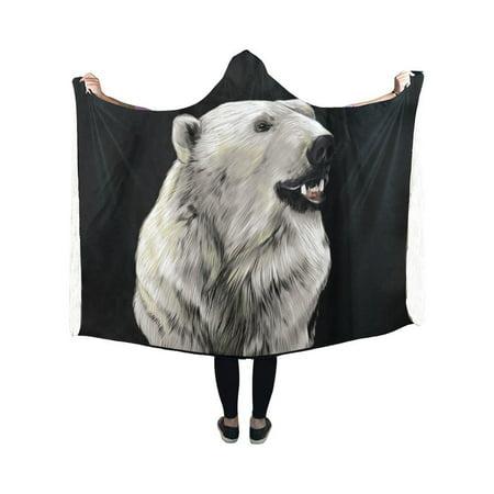HATIART Polar Bear Head Hooded Blanket Pilling Polar Fleece Hooded Throw Wrap 40x50 inch - image 1 de 3