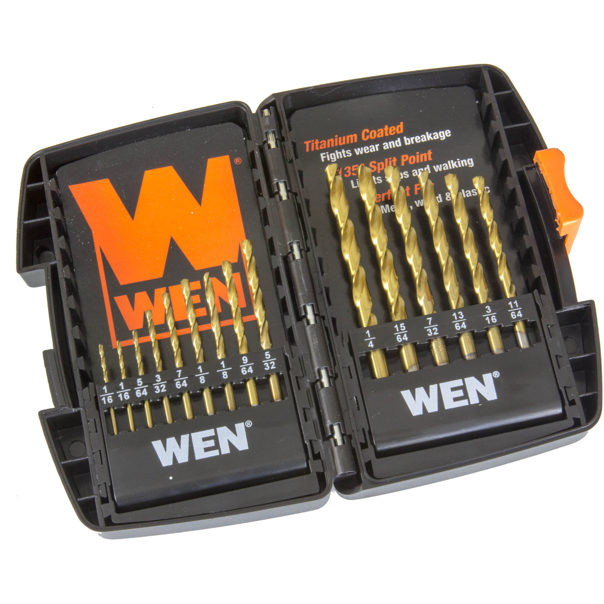 WEN 15-Piece Titanium-Coated Drill Bit Set