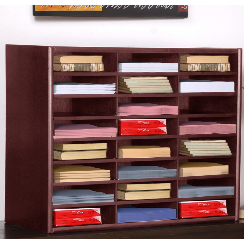 Concepts in Wood Cherry 24 Slot Literature Organizer