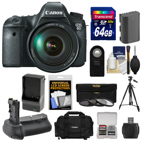 Canon EOS 6D Digital SLR Camera Body with EF 24-105mm L IS USM Lens with 64GB Card + Case + Battery & Charger... by Canon