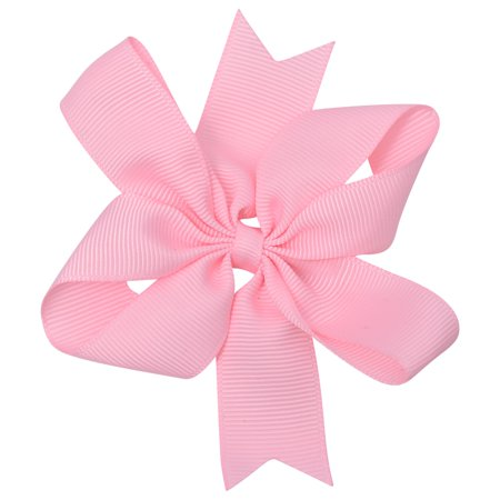 Girls Light Pink Solid Color Grosgrain Knotted Bow Stylish Hair - Halloween Hair Clippies