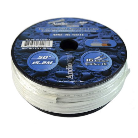 50 FT 16 GAUGE WHITE MARINE SPEAKER WIRE STRANDED TIN COPPER PLATED