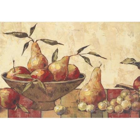 Faux Paint Pear Apple Plum Grapes on Kitchen Table Cream Vintage Wallpaper Border Retro Design, Roll 15' x 9