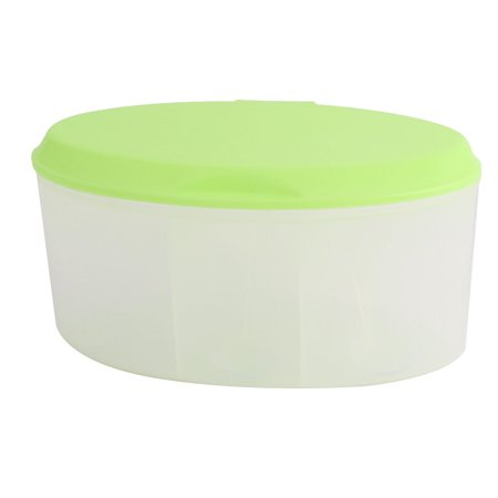 Kitchen Plastic Spice Condiment Container Green Clear 3 Compartments w Spoons