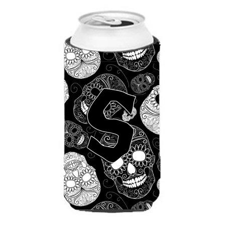 Letter S Day of the Dead Skulls Black Tall Boy Beverage Insulator Hugger CJ2008-STBC (Day Of The Dead Boy)