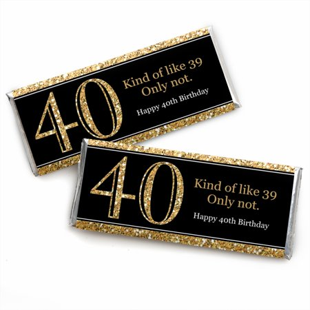 Themes For 40th Birthday Parties (Adult 40th Birthday - Gold - Candy Bar Wrappers Birthday Party Favors - Set of)