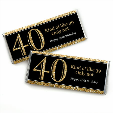 Adult 40th Birthday - Gold - Candy Bar Wrappers Birthday Party Favors - Set of 24