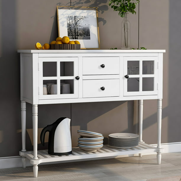 Jumper 42 Console Table Rustic Entryway Table Solid Wood Sideboard Storage Console Table Buffet Storage Cabinet W Two Storage Drawers And Bottom Shelf For Living Room White Walmart Com Walmart Com