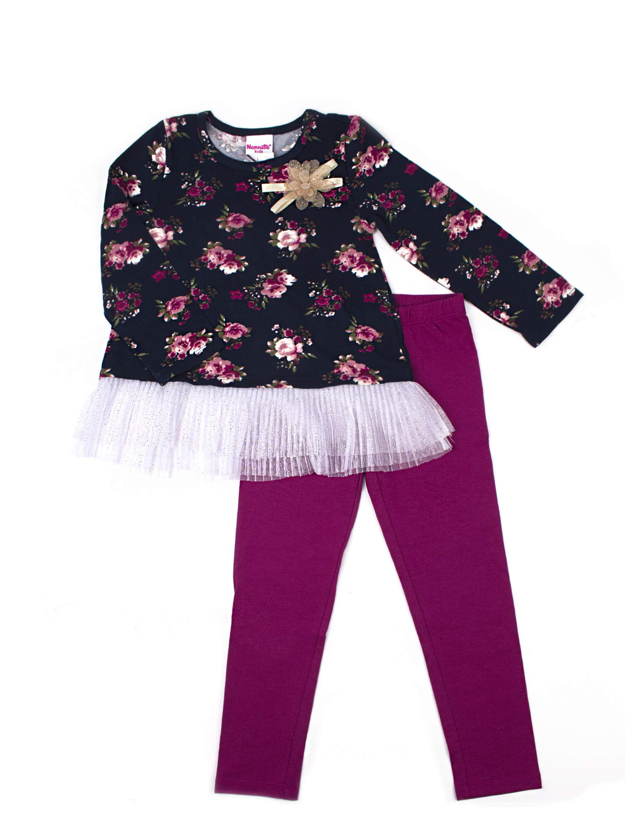 Printed Jersey Tulle Hem Top and Legging, 2-Piece Outfit Set (Little Girls)