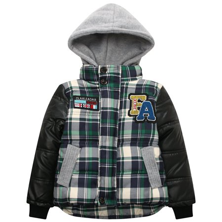 Little Boys Green Plaid Faux Leather Hooded Padding Jacket 2/3 ()