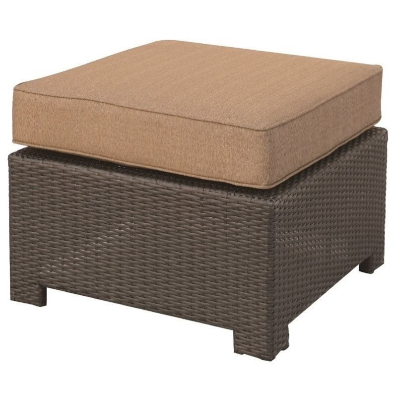 Darlee Vienna Wicker Patio Ottoman in Espresso (Set of 2) by Darlee
