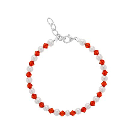 Silver Plated Red Beads and White Simulated Pearl Adjustable Girls Bracelet 5.5