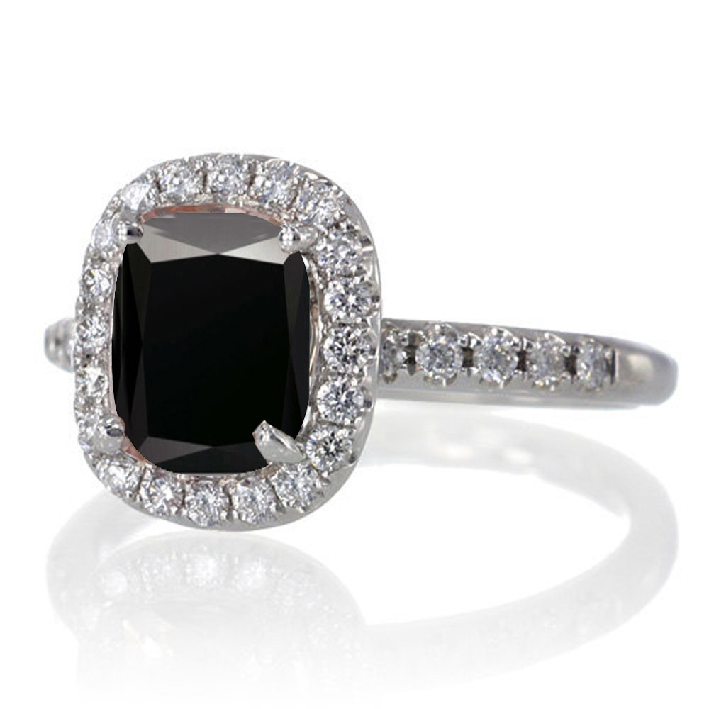 5 Carat Diamond Enement Ring | Jeenjewels 1 5 Carat Cushion Cut Black Diamond Antique Diamond