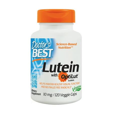 Doctor's Best Lutein with OptiLut, Non-GMO, Vegan, Gluten Free, Soy Free, Eye Health, 10 mg, 120 Veggie
