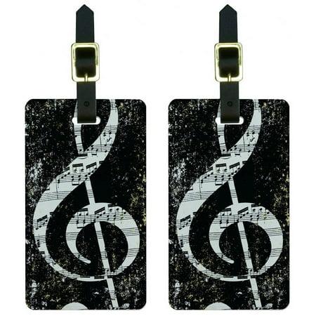 Vintage Treble Clef Music Black Luggage Tags Suitcase Carry-On ID, Set of 2 ()