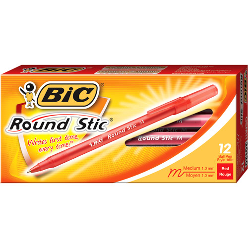 BIC Round Stic Ball Pen, Medium, Red, 1-Dozen