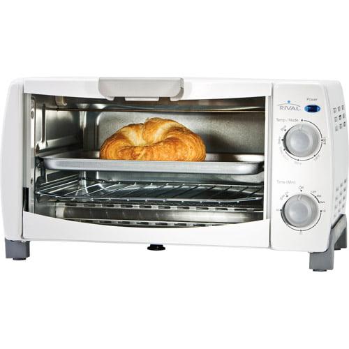 Rival 4 Slice Toaster Oven White Walmart Com