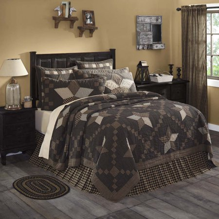 Charcoal Black Primitive Bedding Star And Chain Cotton Pre-Washed Patchwork Star Queen Quilt