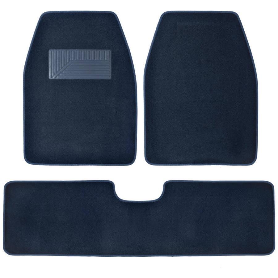 BDK 3 Pieces Carpet Floor Liner for SUV Van and Pickup Truck, Blue
