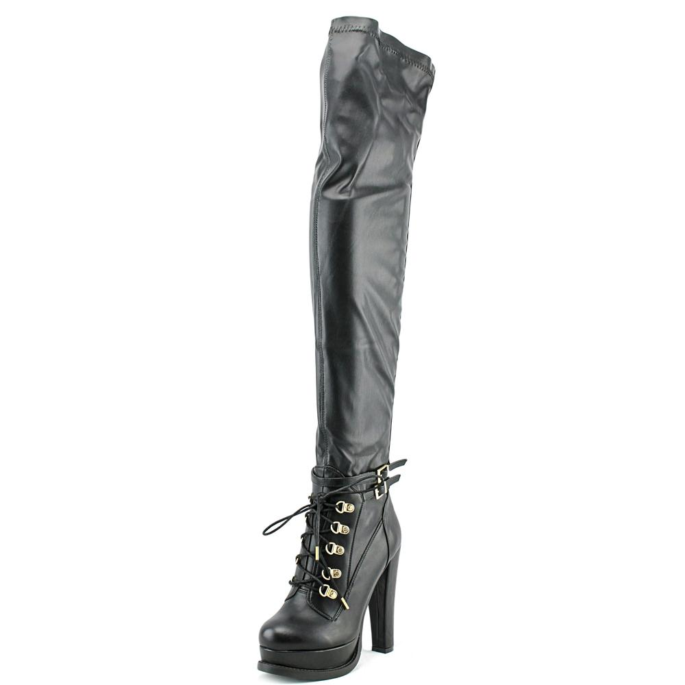 Luichiny Snap Shot Women Round Toe Leather Black Over the Knee Boot by Luichiny