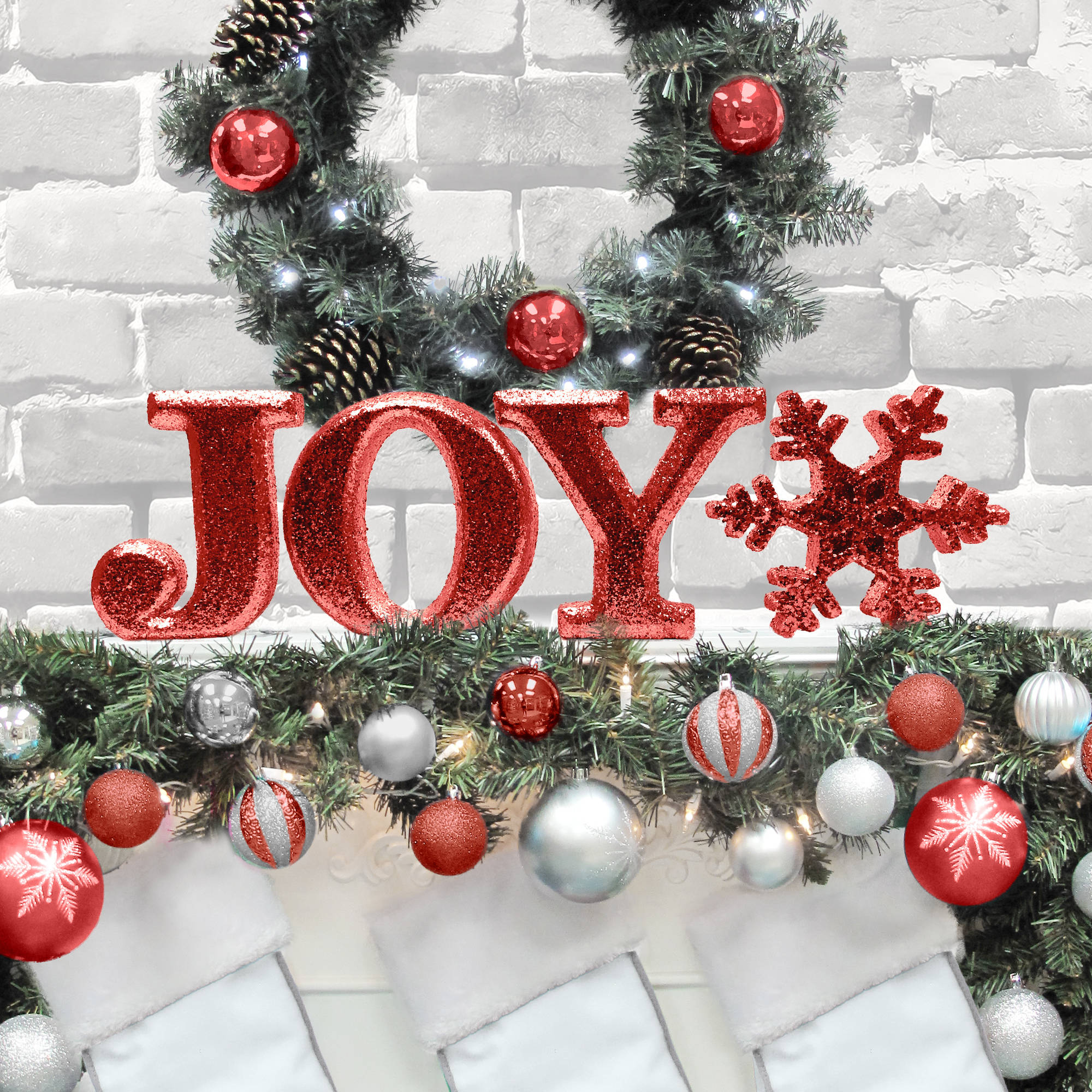 "Holiday Time Christmas Decor 8"" Decorative JOY Letter Set, Glitter Red"