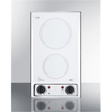 Summit CR2B120WH 115V 2 Burner Radiant Cooktop In Smooth White Glass & Stainless Steel -