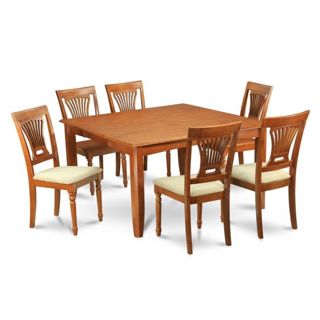 Wooden Imports Furniture PFPL7-SBR-C 7PC Parfait Square Table with 18''Butterfly Leaf & 6 Microfiber upholstered Seat