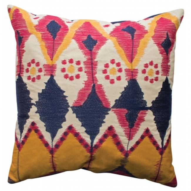 Koko Company 91682 Java- Pillow- 20X20- Cotton- Ikat Inspired- Embroidery And Applique.