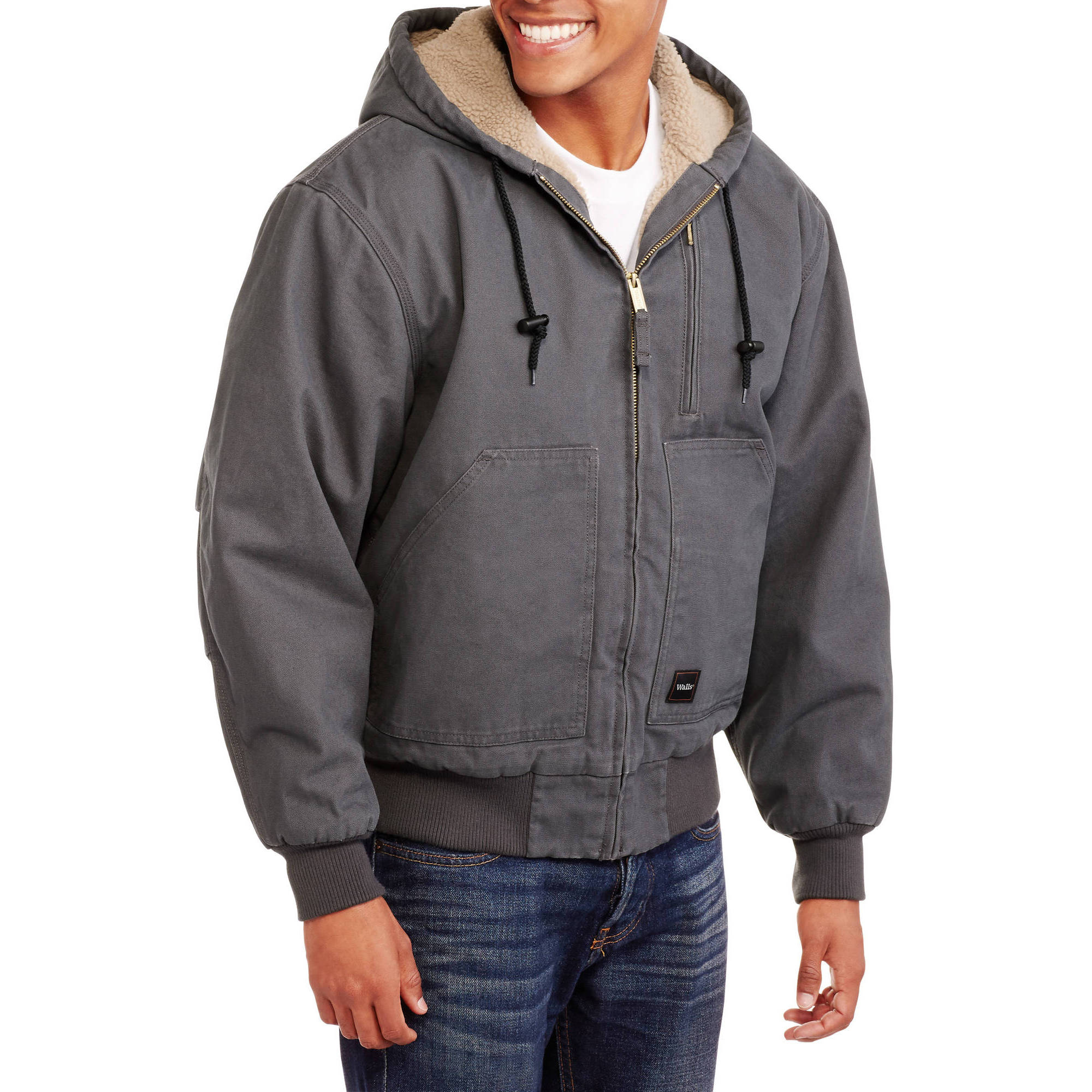 Men's Washed Duck Sherpa Lined Hooded Jacket by WILLIAMSON-DICKIE MFG CO.